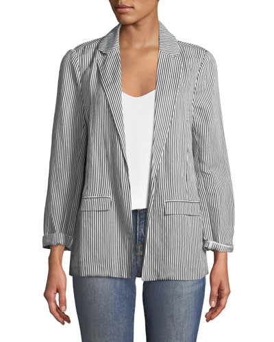 Dove Striped Boyfriend Blazer