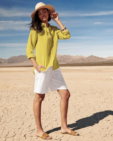 Organic Linen Boyfriend Shirt, Plus Size