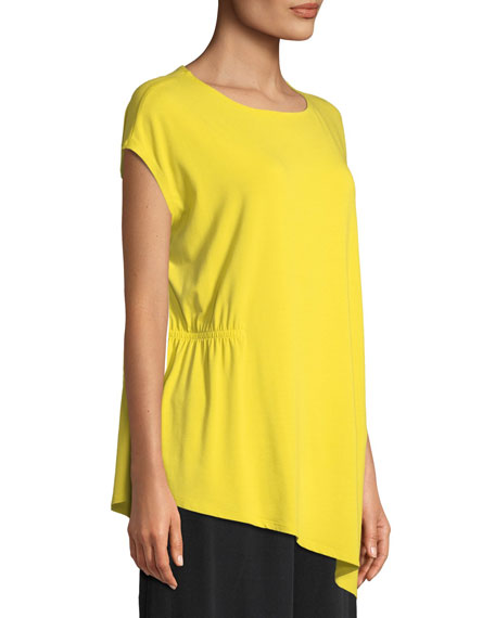Jewel-Neck Viscose-Jersey Top, Petite