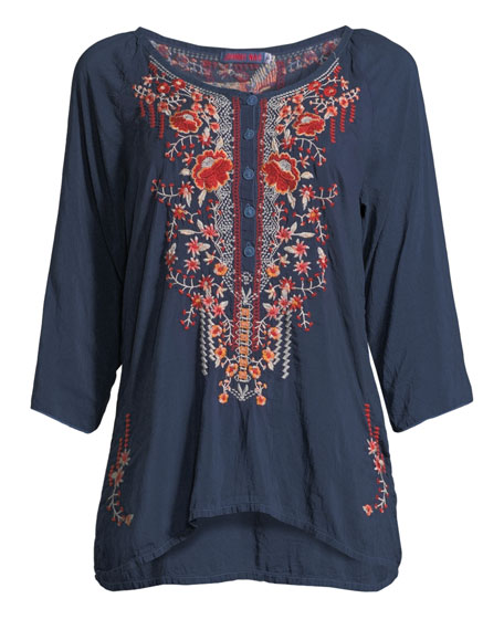 Olivia 3/4-Sleeve Embroidered Blouse, Plus Size