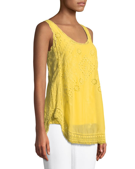 Eyelet Embroidered Fringe-Trim Tank, Plus Size