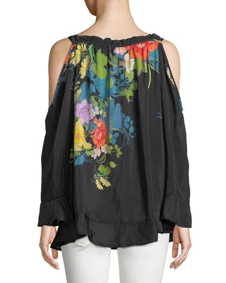 Fusion Cold-Shoulder Floral-Print Blouse, Plus Size