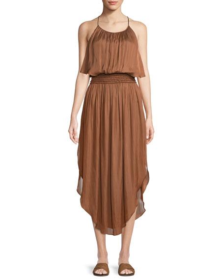 Halston Heritage Smocked-Waist Sleeveless Dress