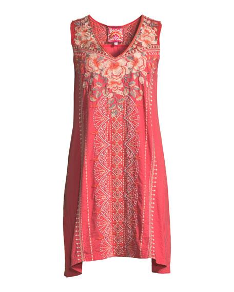 Calida Sleeveless Embroidered Tank Tunic, Plus Size