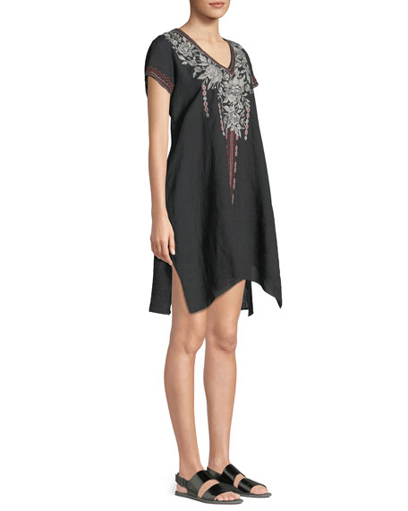 Surya Short-Sleeve Embroidered Tunic Dress