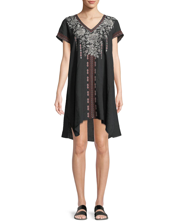 da9a526a368 Johnny Was Surya Short-Sleeve Embroidered Tunic Dress | Neiman Marcus