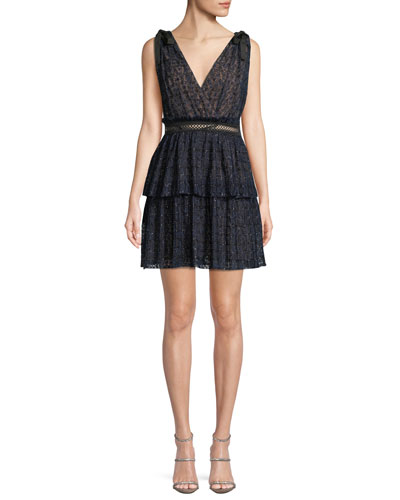 V-Neck Sleeveless Metallic Mesh Cocktail Dress