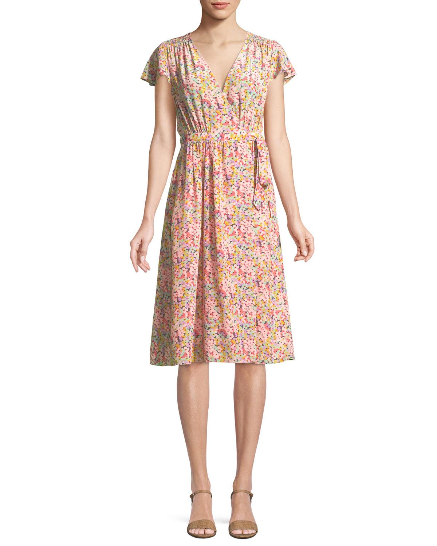 Margo Fl Print Silk Wrap Dress