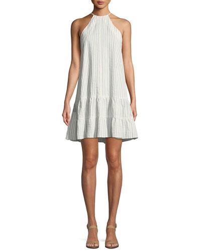 Sleeveless Stripe Cotton Tank Dress