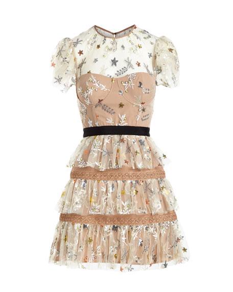 Star-Mesh Corset Tiered Cocktail Dress