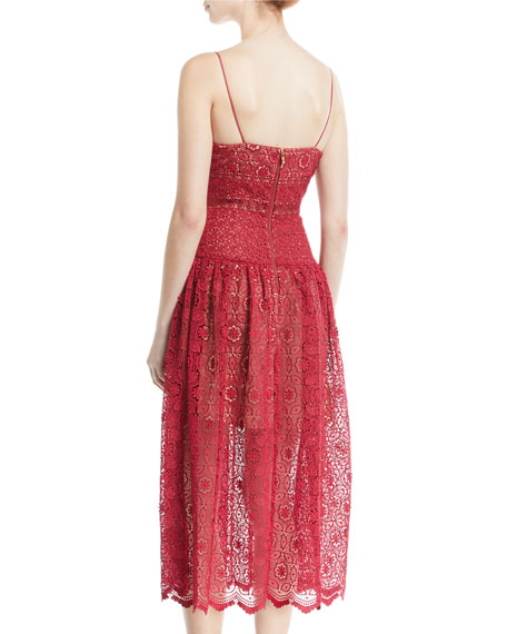 Image 2 of 2: Sleeveless Floral-Lace Midi Cocktail Dress
