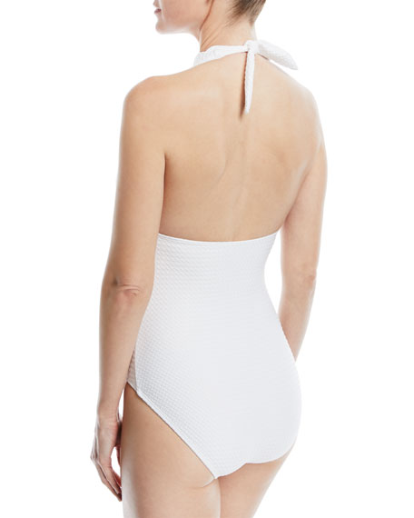 halter plunging textured one-piece swimsuit
