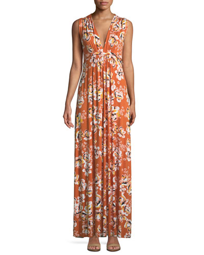 Long Sleeveless Zahara-Print Dress, Plus Size