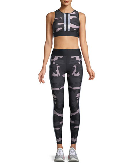 Ultra-High Camo Collegiate Leggings with Side Stripes