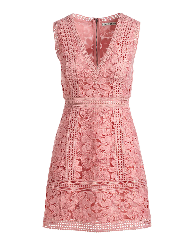 c761d1c9ca50 Alice + Olivia Zula Sleeveless V-Neck Lace Mini Party Dress | Neiman Marcus