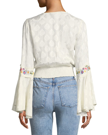 Kindra Embroidered Bell-Sleeve Smocked Top