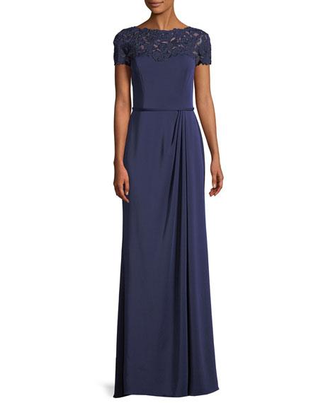 La Femme Laser-Cut Flower Jersey Short-Sleeve Gown