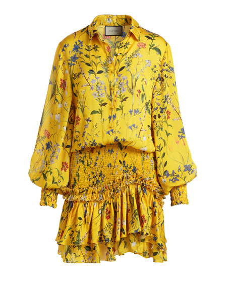 Rianna Long-Sleeve Floral-Print Satin Dress