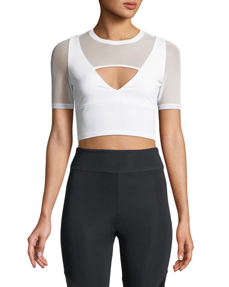 Cushnie Et Ochs Clemence Half-Sleeve Fitted Crop Top