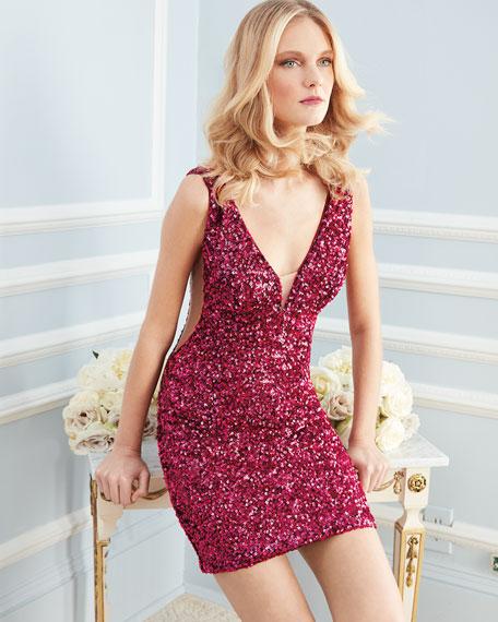 Sequin Mini Cocktail Dress w/ Illusion Sides