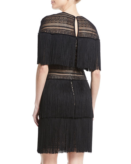 Three-Tier Fringe Mini Dress