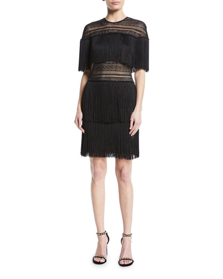 NK32 Naeem Khan Three-Tier Fringe Mini Dress
