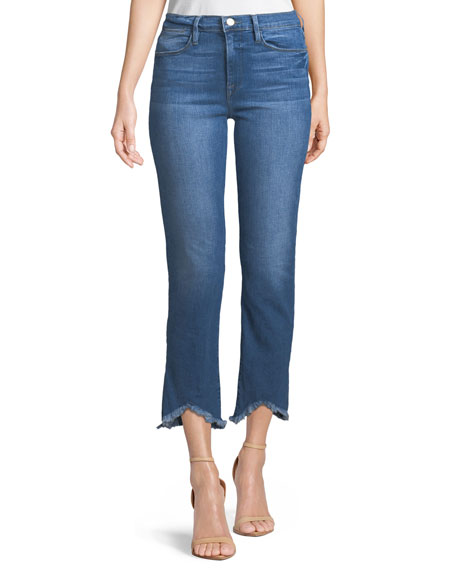 FRAME Le High Straight-Leg Jeans w/ Raw-Edge Triangle