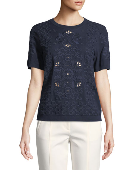 Channing Eyelet-Embroidered Short-Sleeve Sweater