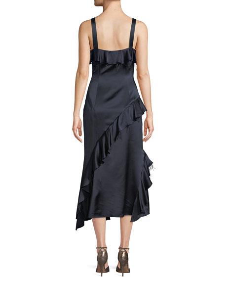 Gigi V-Neck Sleeveless Satin Ruffled Dress w/ Feather Trim