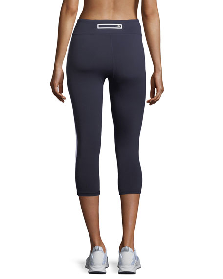 Tory Sport High-Visibility Reflective-Stripe Cropped Leggings