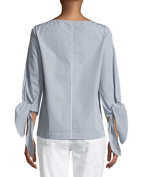 Elaina Bennet Stripe Tie-Sleeve Stretch-Cotton Blouse