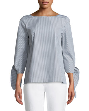 Lafayette 148 New York Elaina Bennet Stripe Tie-Sleeve Stretch-Cotton Blouse d61f07f69d8