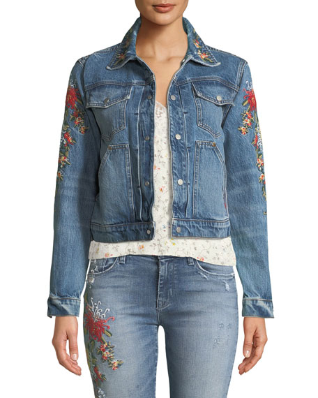 Hudson The Ren Floral-Embroidered Crop Trucker Jacket