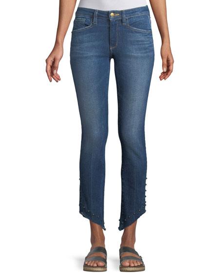 Acynetic Loren Kaylor Skinny-Leg Jeans w/ Grommet Asymmetric