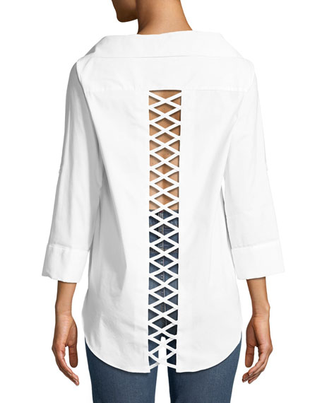 Alice + Olivia Finn Cross-Back Cutout Blouse