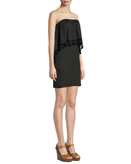 Bumble Must Have Jersey Popover Tassel Strapless Mini Dress