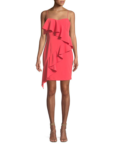 Scuba Crepe Asymmetric Ruffle Mini Dress