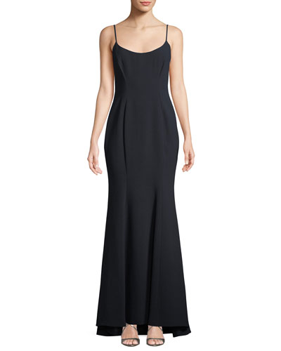 Kalinda Sleeveless Illusion-Back Evening Gown