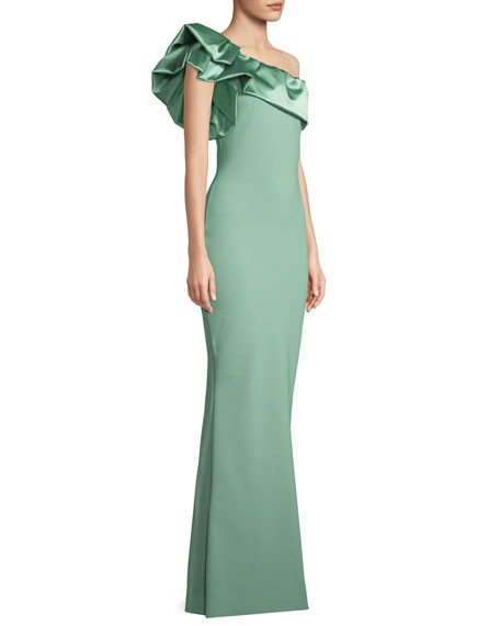 Elise One-Shoulder Satin Gown