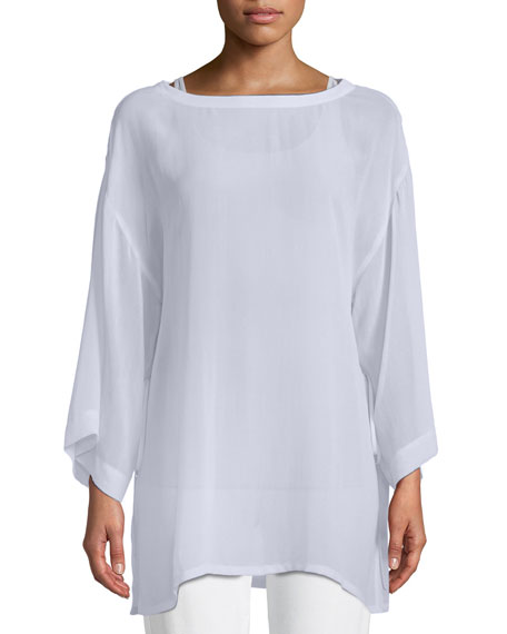 Eileen Fisher Side-Tie Sheer Silk Kimono Top