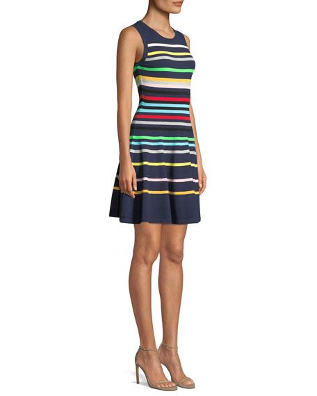 Rainbow Striped Flare Dress