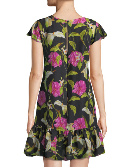Jill Floral-Print Silk Flounce Dress