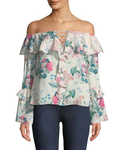 Erin Off-the-Shoulder Floral-Print Silk Blouse