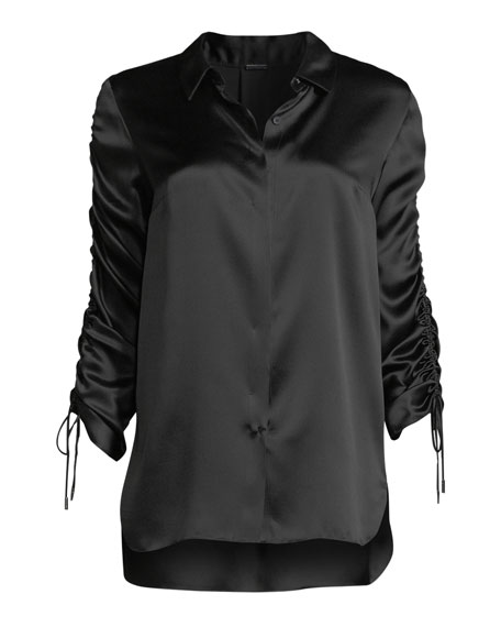 Soma Silk Ruched-Sleeve Blouse