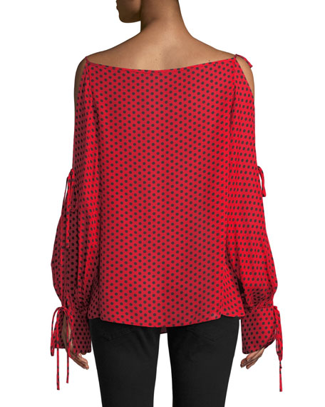 Image 2 of 4: Milly Connie Polka-Dot Silk Top with Tie Details