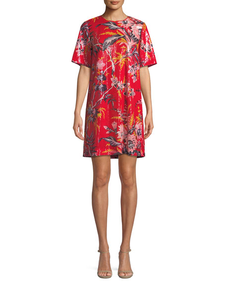 Diane von Furstenberg Sequined Floral-Print Short-Sleeve Shift
