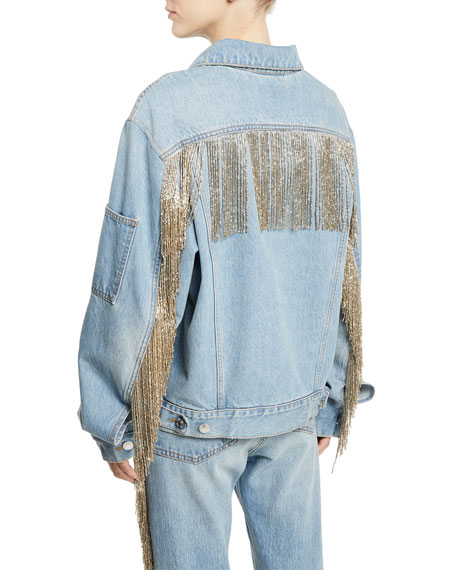 Helmut Lang Oversized Fringe Jean Jacket and Matching