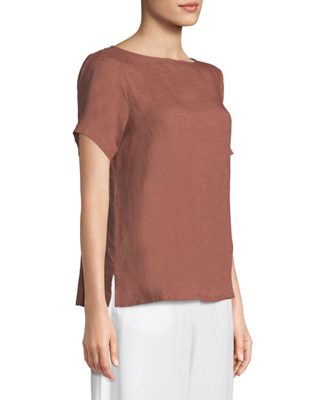 Organic Handkerchief Linen Short-Sleeve Top