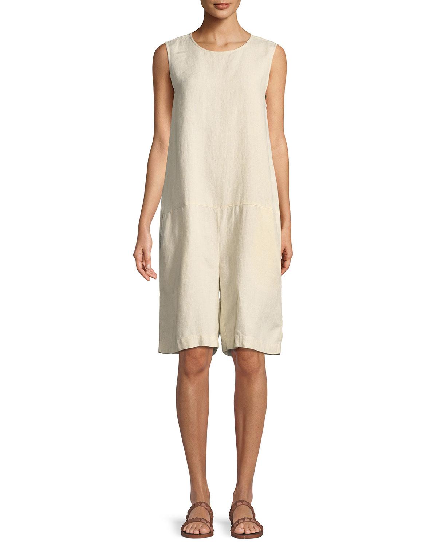 b6898a99dc2 Eileen FisherSleeveless Organic Linen Short Jumpsuit