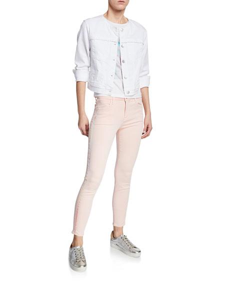 J Brand Alana High-Rise Cropped Super Skinny Jeans w/ Ladder Lace